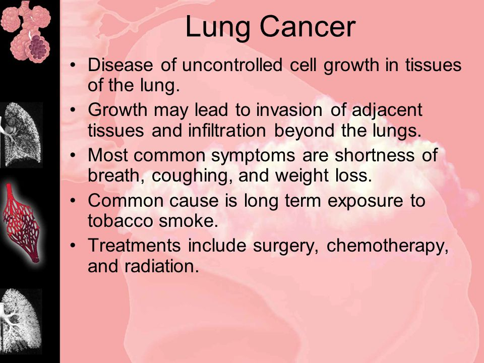 Disease of uncontrolled cell growth in tissues of the lung.