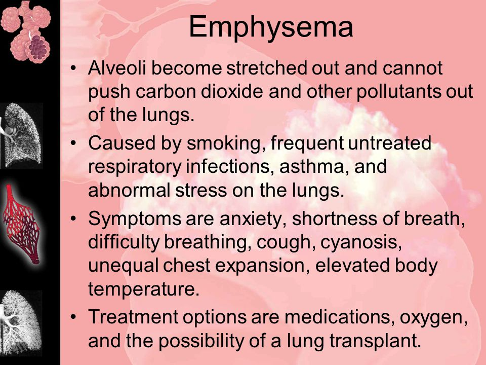 Emphysema Alveoli become stretched out and cannot push carbon dioxide and other pollutants out of the lungs.