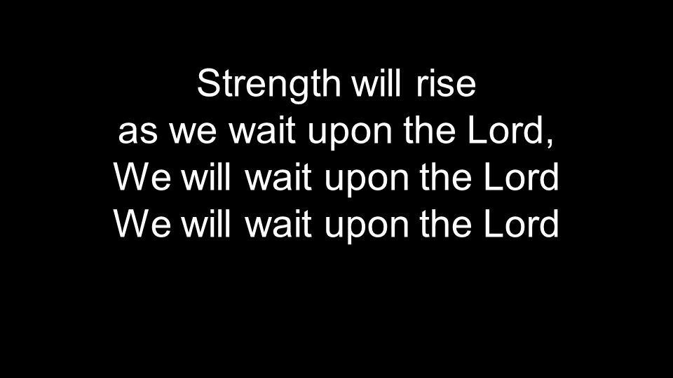 Strength will rise as we wait upon the Lord, We will wait upon the Lord