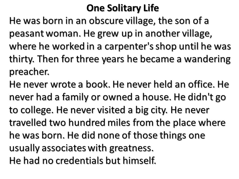 One solitary life poem