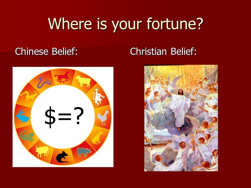 Where is your fortune Chinese Belief: Christian Belief: $=