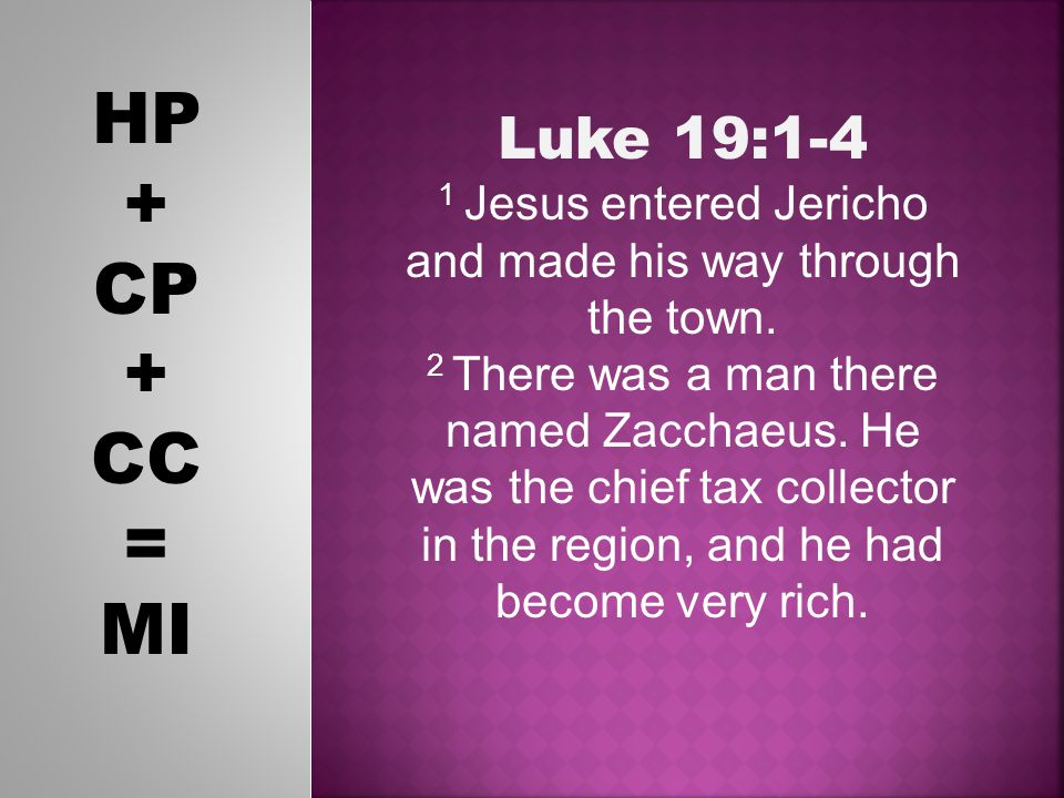 HP + CP + CC = MI Luke 19:1-4 1 Jesus entered Jericho and made his way through the town.
