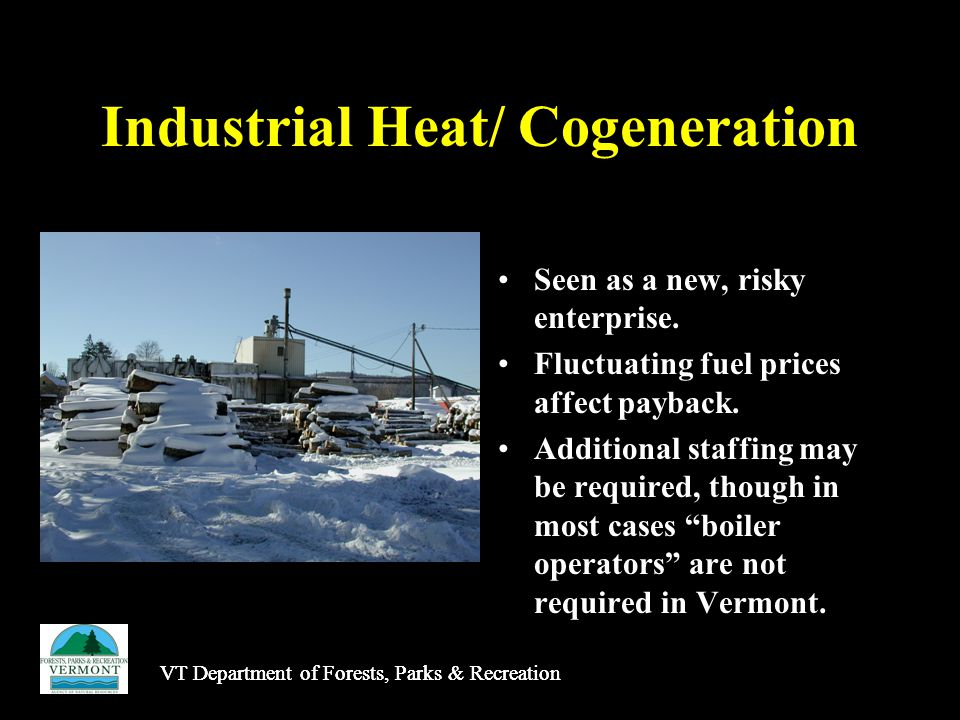Industrial Heat/ Cogeneration Seen as a new, risky enterprise.