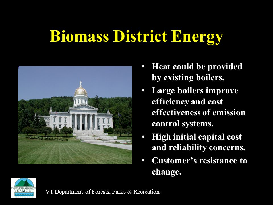 VT Department of Forests, Parks & Recreation Biomass District Energy Heat could be provided by existing boilers.