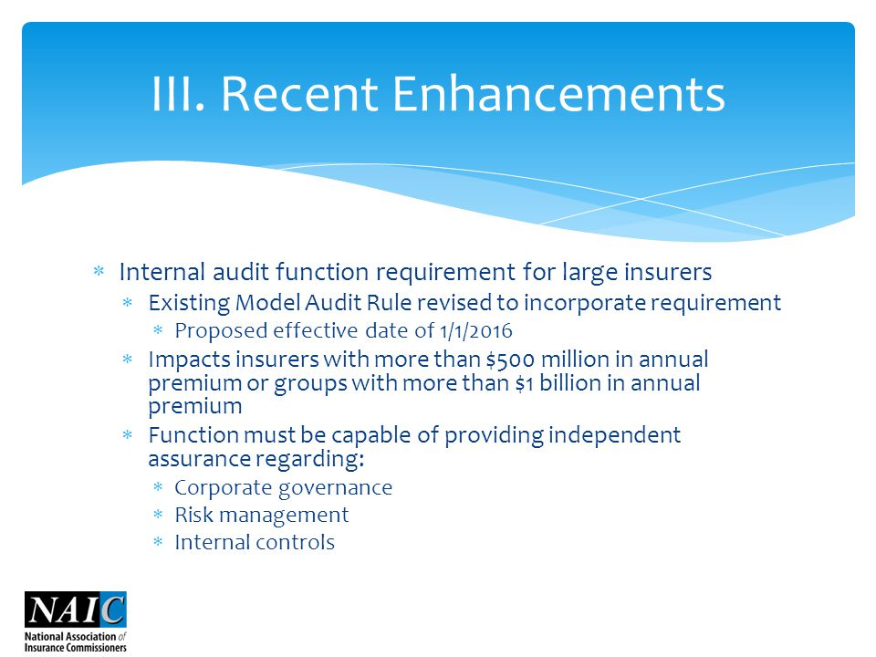  Internal audit function requirement for large insurers  Existing Model Audit Rule revised to incorporate requirement  Proposed effective date of 1/1/2016  Impacts insurers with more than $500 million in annual premium or groups with more than $1 billion in annual premium  Function must be capable of providing independent assurance regarding:  Corporate governance  Risk management  Internal controls III.