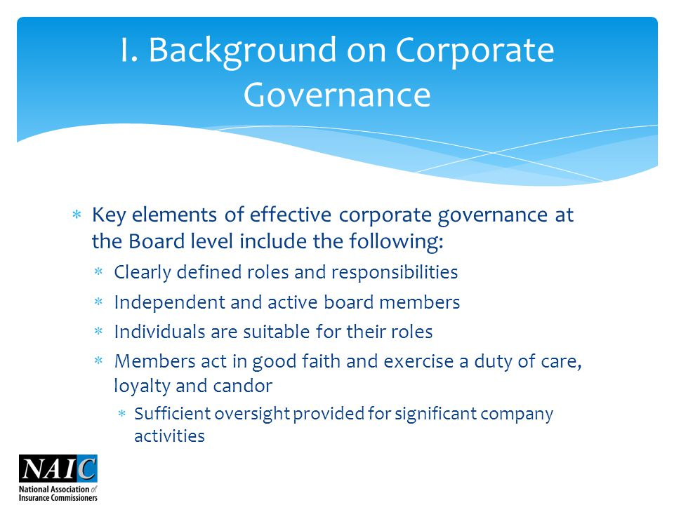  Key elements of effective corporate governance at the Board level include the following:  Clearly defined roles and responsibilities  Independent and active board members  Individuals are suitable for their roles  Members act in good faith and exercise a duty of care, loyalty and candor  Sufficient oversight provided for significant company activities I.