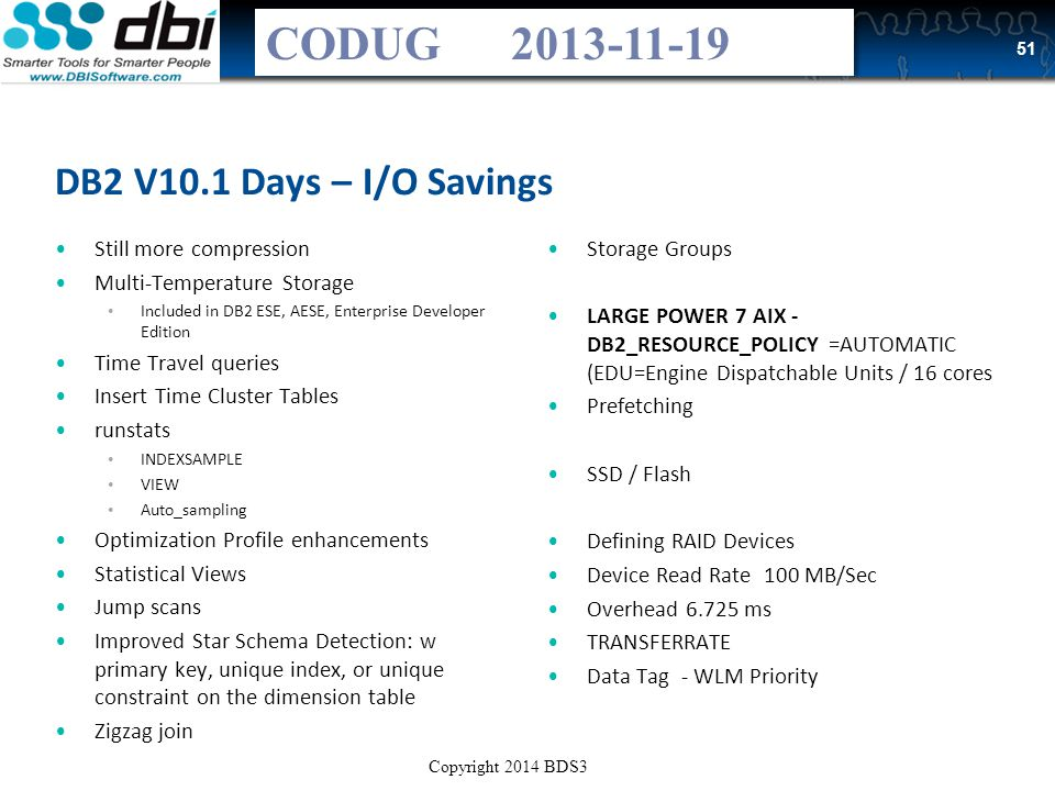 Copyright 2013 BDS3 with use by agreement – DBI and CODUG Trifecta