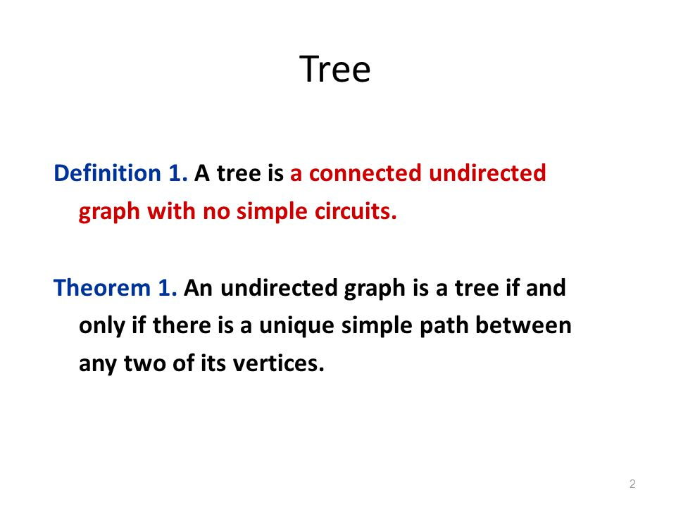Tree Definition 1. A tree is a connected undirected graph with no simple circuits.