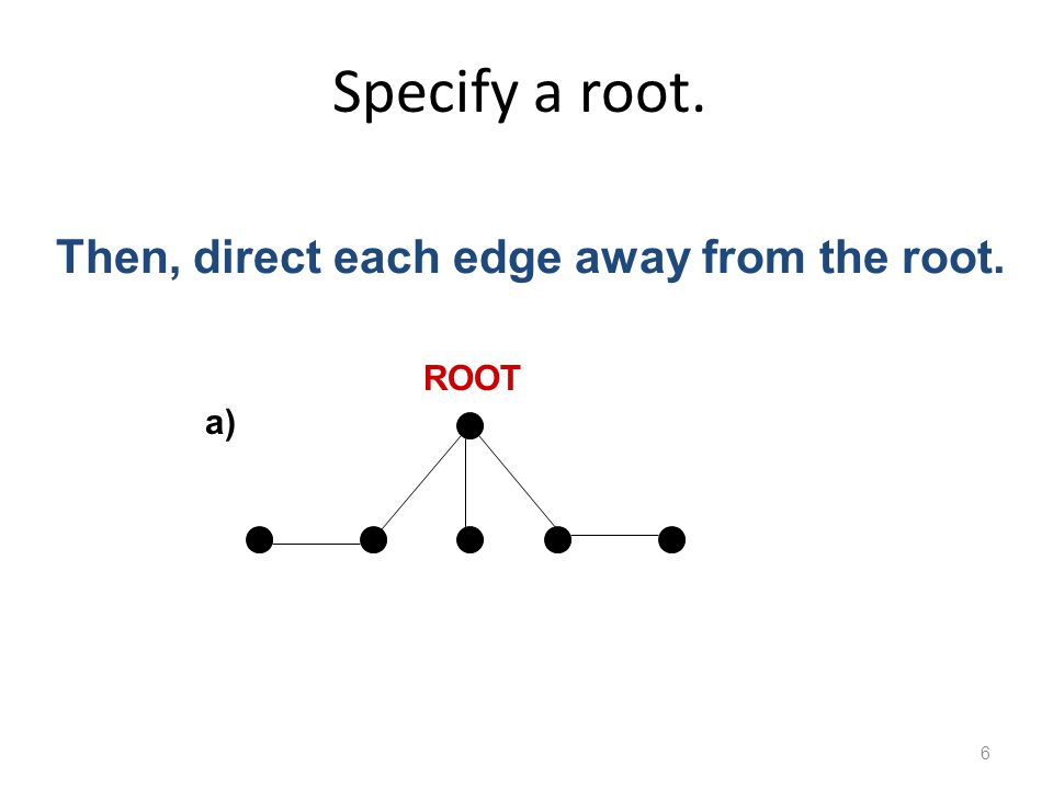 Specify a root. 6 a) ROOT Then, direct each edge away from the root.