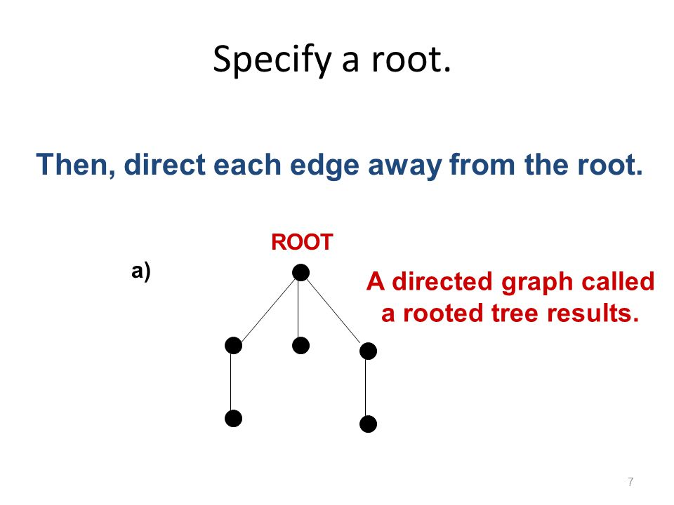 Specify a root. 7 a) ROOT Then, direct each edge away from the root.