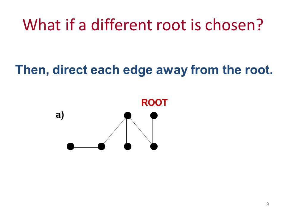 What if a different root is chosen 9 a) ROOT Then, direct each edge away from the root.