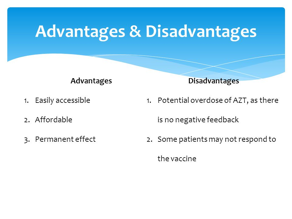 Advantages & Disadvantages Advantages 1.Easily accessible 2.Affordable 3.Permanent effect Disadvantages 1.Potential overdose of AZT, as there is no negative feedback 2.Some patients may not respond to the vaccine