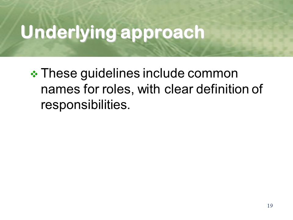 19 Underlying approach v These guidelines include common names for roles, with clear definition of responsibilities.