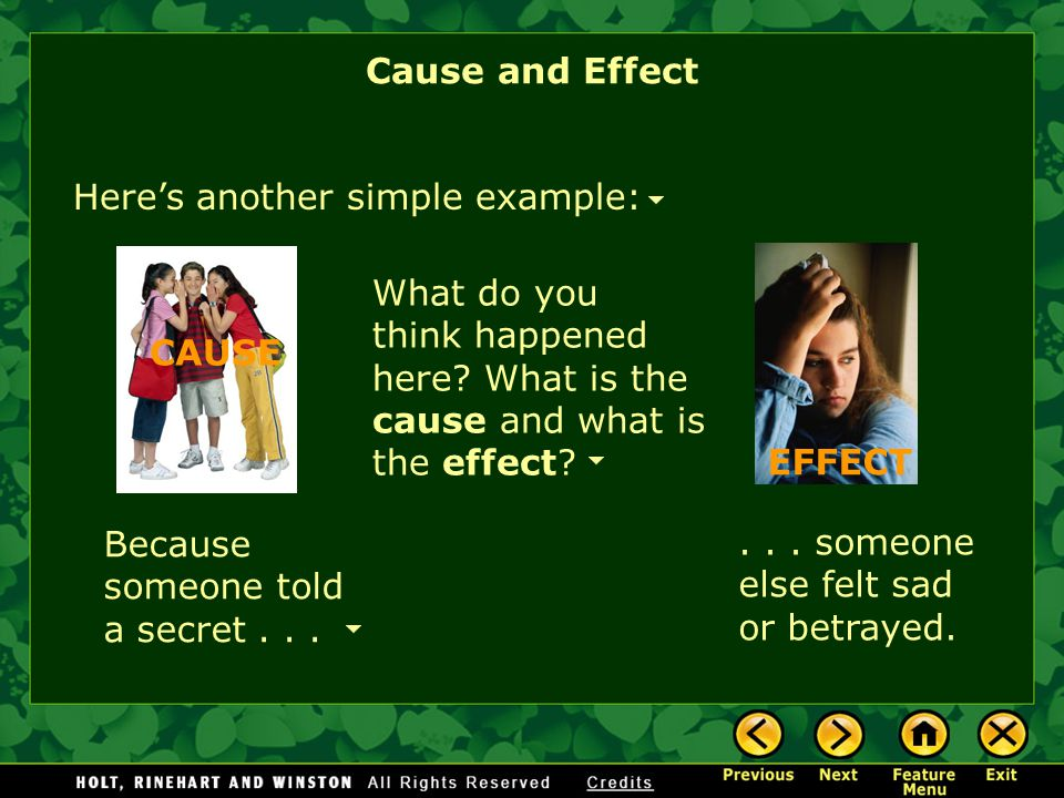 cause and effect text structure examples