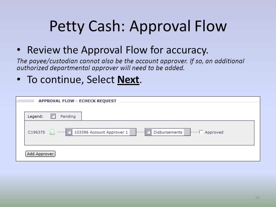 Petty Cash: Approval Flow Review the Approval Flow for accuracy.