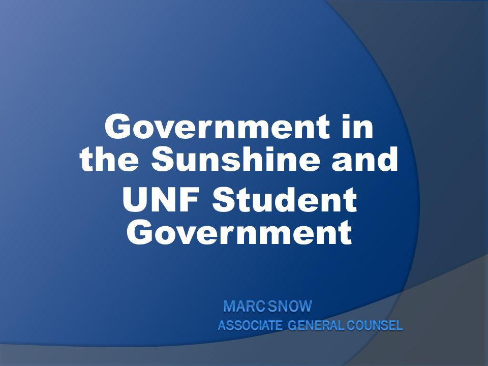 Government in the Sunshine and UNF Student Government