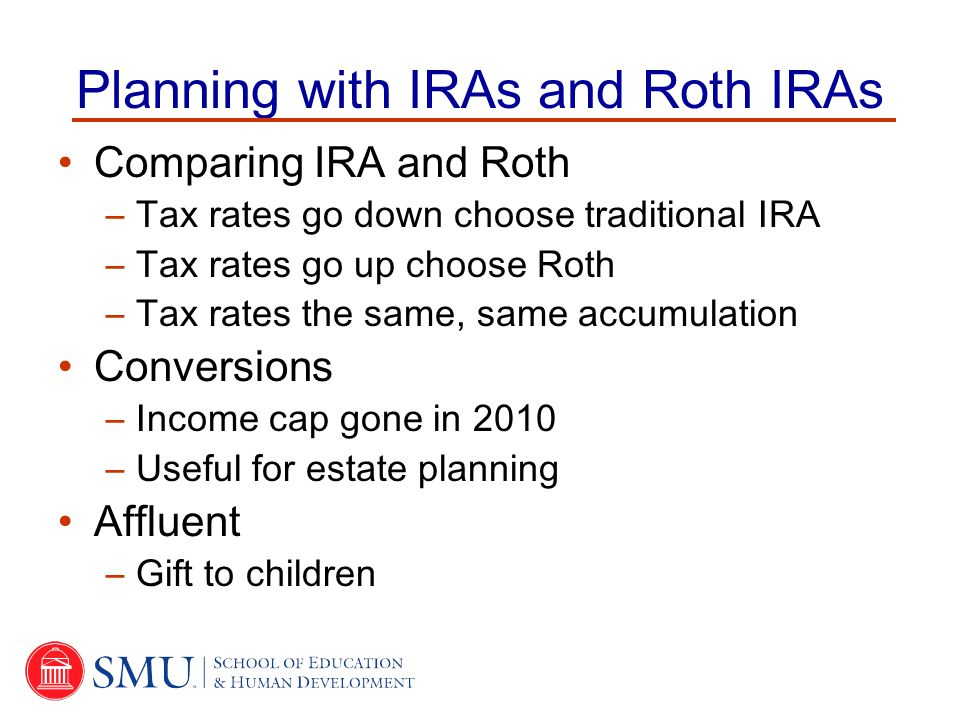 Planning with IRAs and Roth IRAs Comparing IRA and Roth –Tax rates go down choose traditional IRA –Tax rates go up choose Roth –Tax rates the same, same accumulation Conversions –Income cap gone in 2010 –Useful for estate planning Affluent –Gift to children