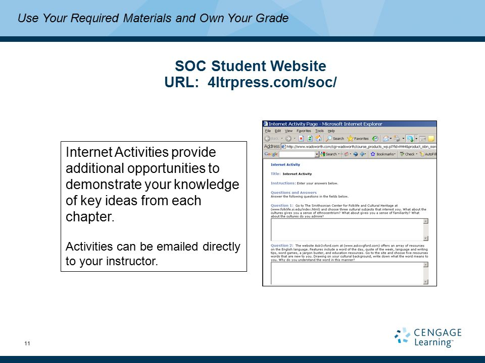 11 Use Your Required Materials and Own Your Grade SOC Student Website URL: 4ltrpress.com/soc/ Internet Activities provide additional opportunities to demonstrate your knowledge of key ideas from each chapter.