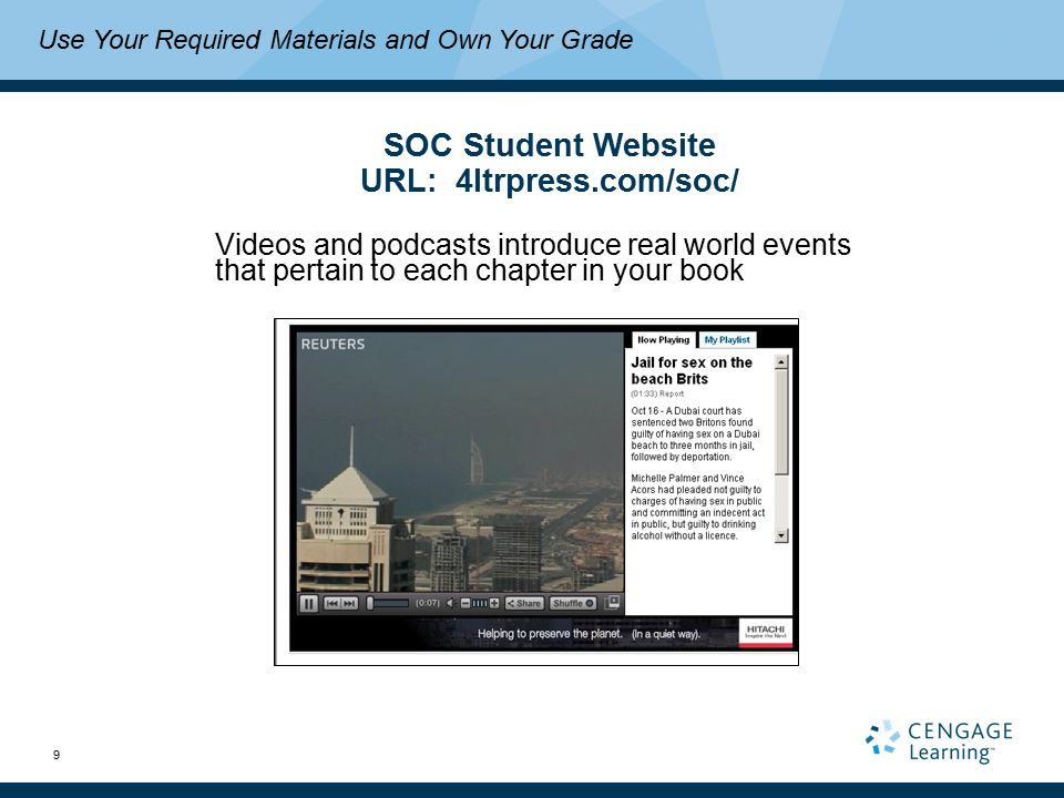 9 Use Your Required Materials and Own Your Grade SOC Student Website URL: 4ltrpress.com/soc/ Videos and podcasts introduce real world events that pertain to each chapter in your book