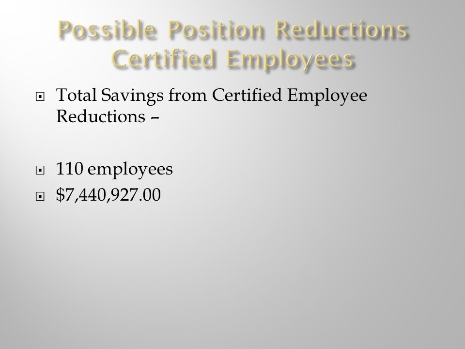  Total Savings from Certified Employee Reductions –  110 employees  $7,440,927.00