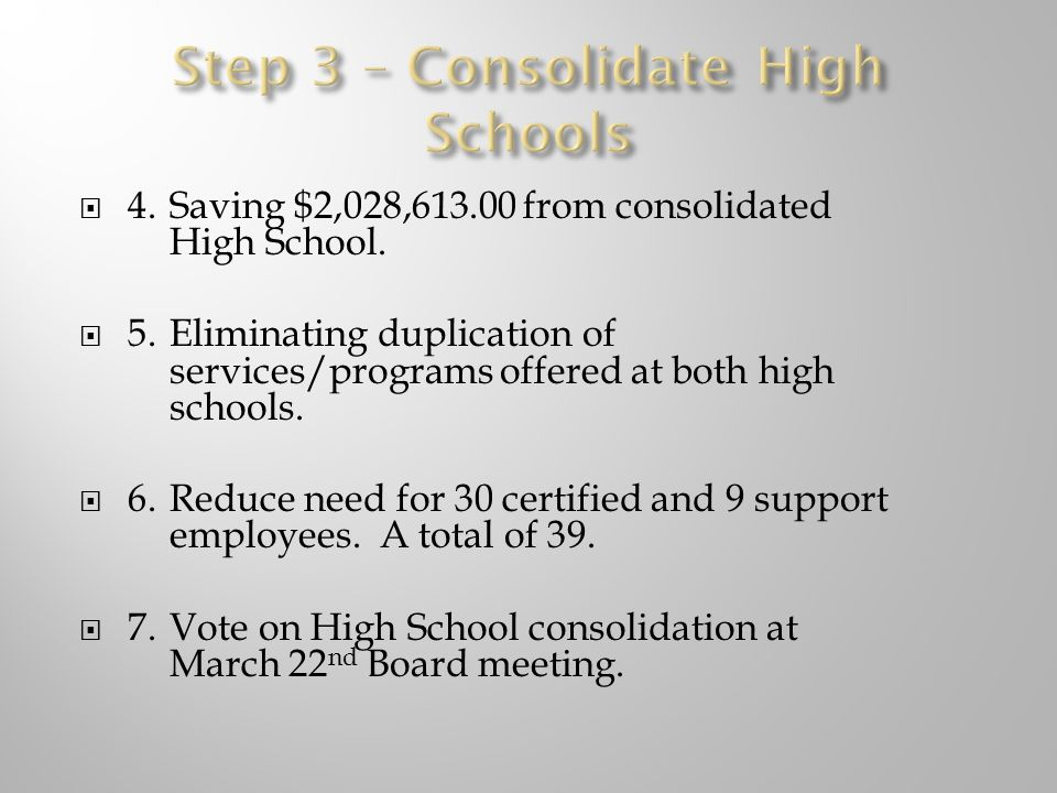  4.Saving $2,028, from consolidated High School.