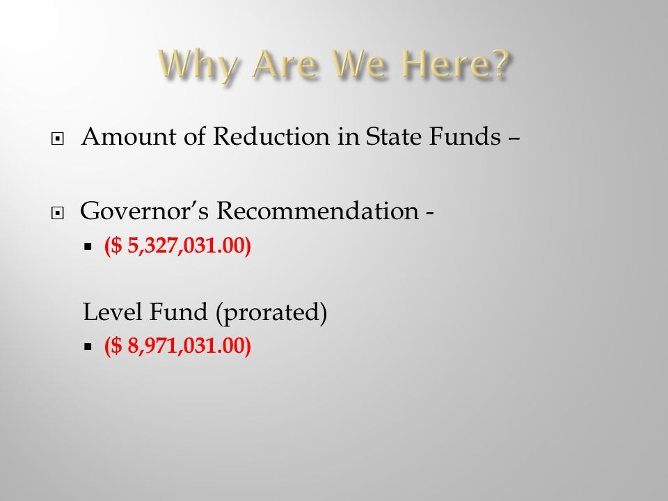  Amount of Reduction in State Funds –  Governor's Recommendation -  ($ 5,327,031.00) Level Fund (prorated)  ($ 8,971,031.00)