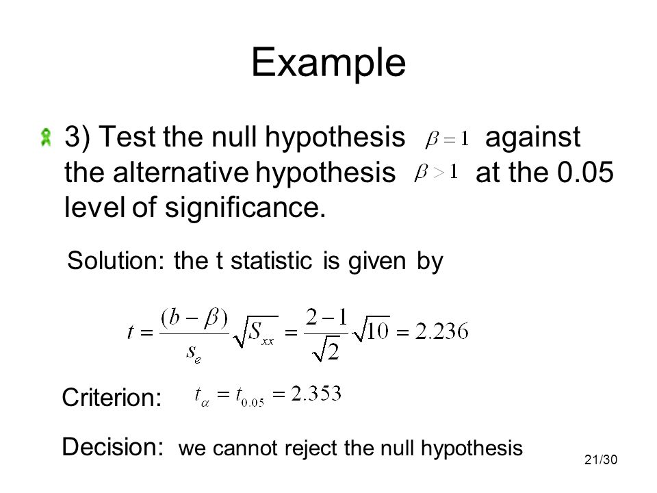 21/30 Example 3) Test the null hypothesis against the alternative hypothesis at the 0.05 level of significance.