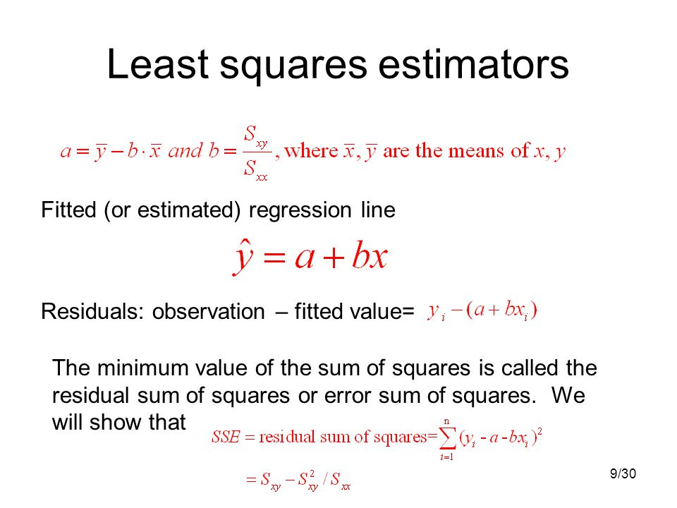 9/30 Least squares estimators Fitted (or estimated) regression line Residuals: observation – fitted value= The minimum value of the sum of squares is called the residual sum of squares or error sum of squares.