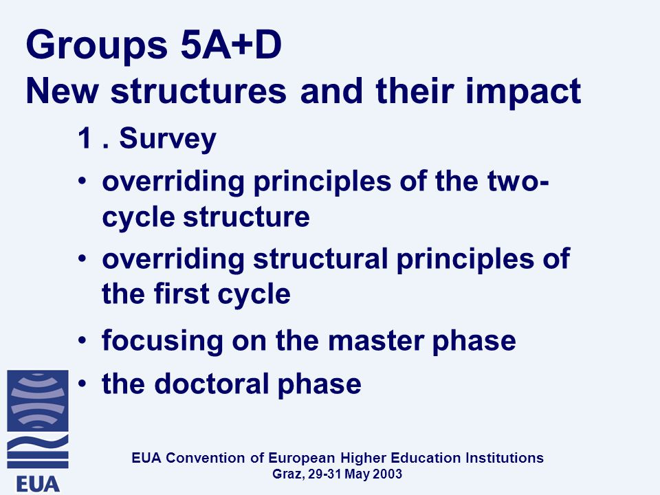 EUA Convention of European Higher Education Institutions Graz, May 2003 Groups 5A+D New structures and their impact 1.