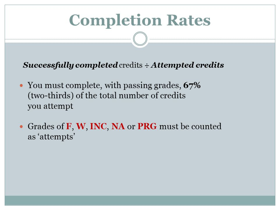 Completion Rates Successfully completed credits ÷ Attempted credits You must complete, with passing grades, 67% (two-thirds) of the total number of credits you attempt Grades of F, W, INC, NA or PRG must be counted as 'attempts'