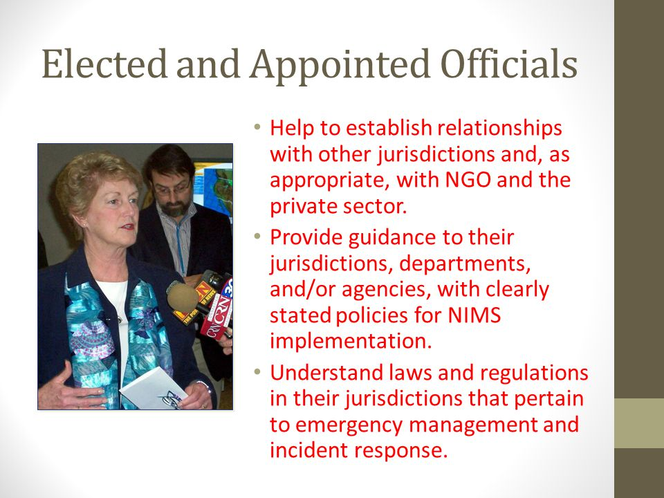 Elected and Appointed Officials Help to establish relationships with other jurisdictions and, as appropriate, with NGO and the private sector.