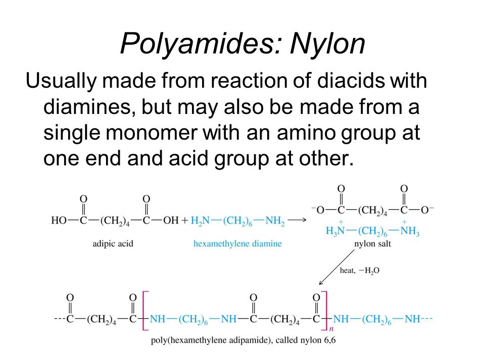 Polyamides: Nylon Usually made from reaction of diacids with diamines, but may also be made from a single monomer with an amino group at one end and acid group at other.