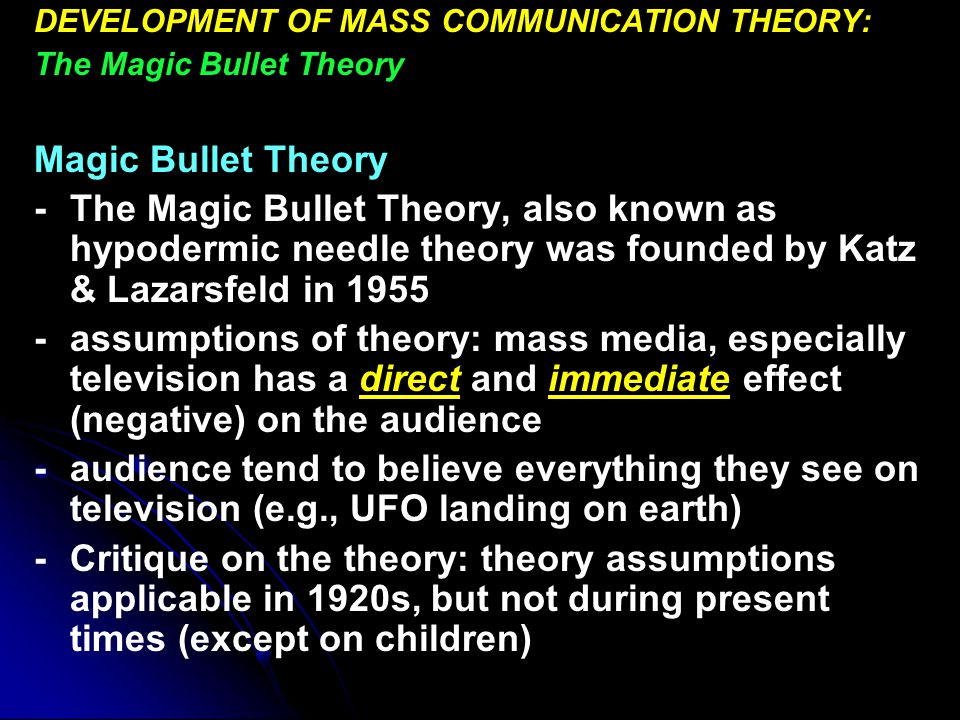 definition of magic bullet theory