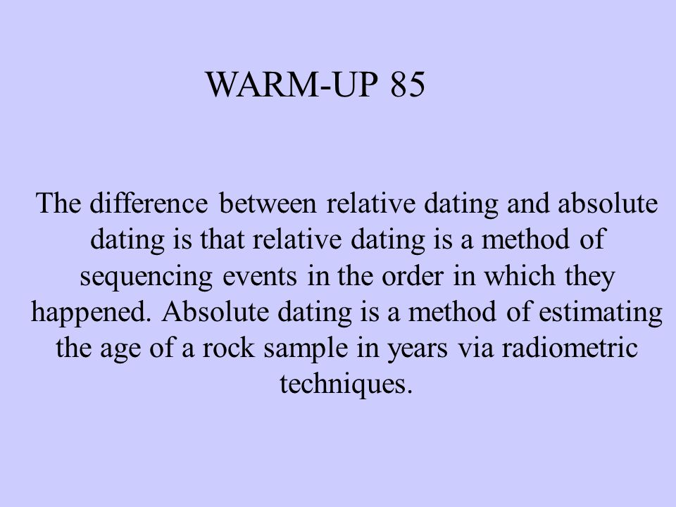 comparison between relative dating and radiometric dating