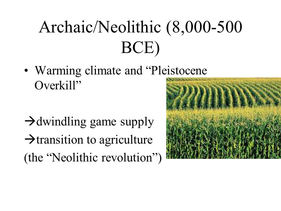 Archaic/Neolithic (8,000-500 BCE) Warming climate and Pleistocene Overkill  dwindling game supply  transition to agriculture (the Neolithic revolution )