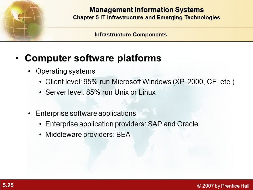 5.25 © 2007 by Prentice Hall Infrastructure Components Computer software platforms Operating systems Client level: 95% run Microsoft Windows (XP, 2000, CE, etc.) Server level: 85% run Unix or Linux Enterprise software applications Enterprise application providers: SAP and Oracle Middleware providers: BEA Management Information Systems Chapter 5 IT Infrastructure and Emerging Technologies