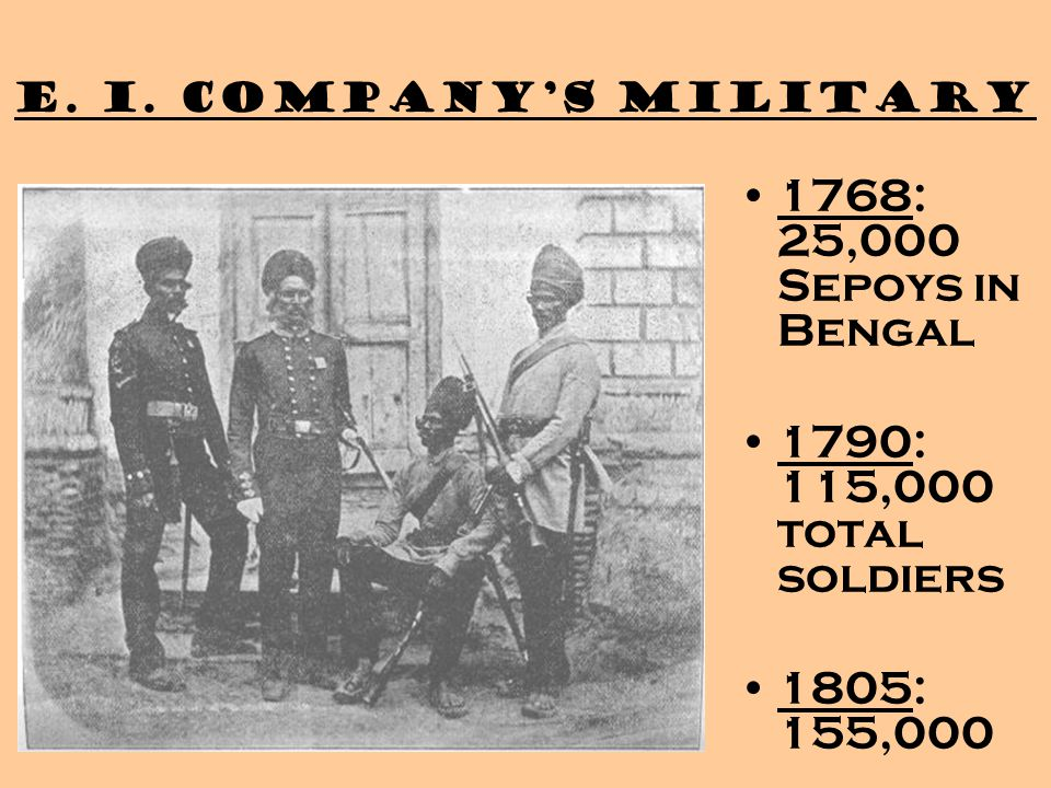 1768: 25,000 Sepoys in Bengal 1790: 115,000 total soldiers 1805: 155,000 E. I. Company's Military