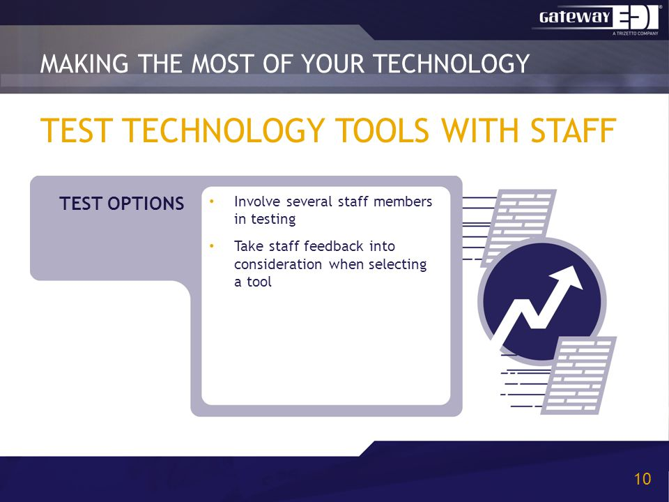 TEST TECHNOLOGY TOOLS WITH STAFF Involve several staff members in testing Take staff feedback into consideration when selecting a tool MAKING THE MOST OF YOUR TECHNOLOGY 10 TEST OPTIONS