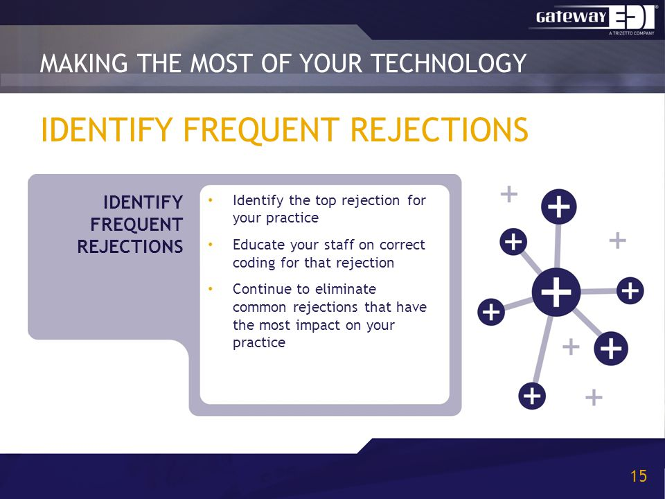 IDENTIFY FREQUENT REJECTIONS Identify the top rejection for your practice Educate your staff on correct coding for that rejection Continue to eliminate common rejections that have the most impact on your practice MAKING THE MOST OF YOUR TECHNOLOGY 15 IDENTIFY FREQUENT REJECTIONS