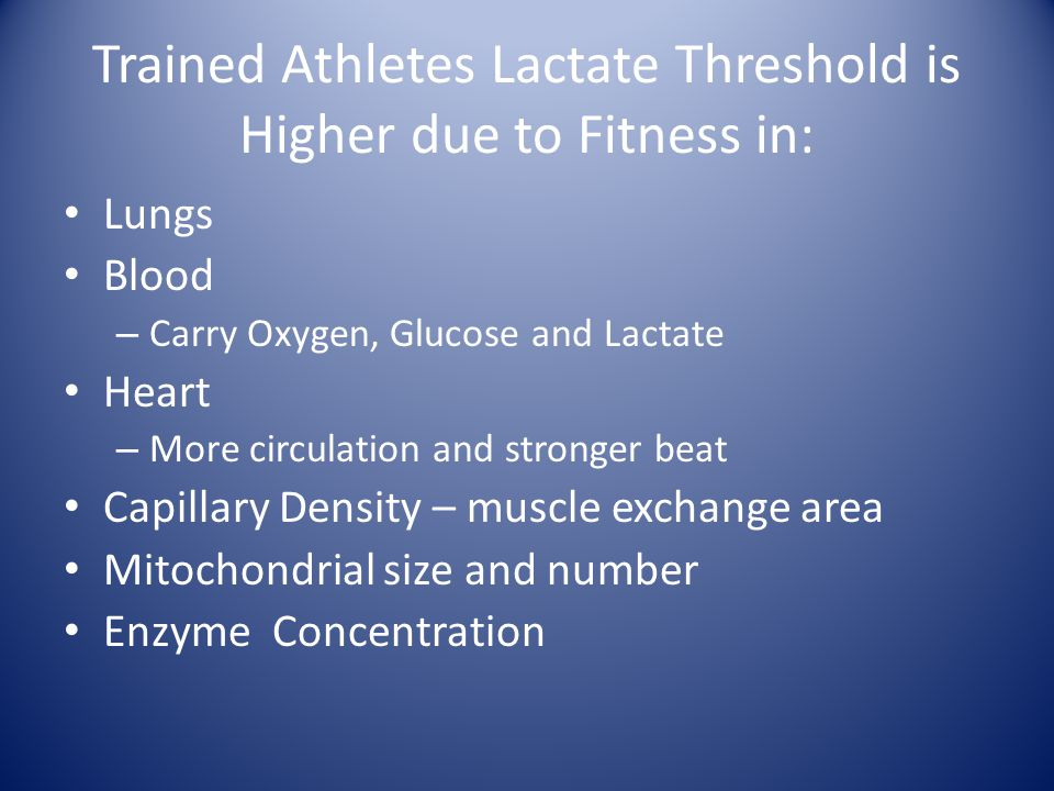 Trained Athletes Lactate Threshold is Higher due to Fitness in: Lungs Blood – Carry Oxygen, Glucose and Lactate Heart – More circulation and stronger beat Capillary Density – muscle exchange area Mitochondrial size and number Enzyme Concentration