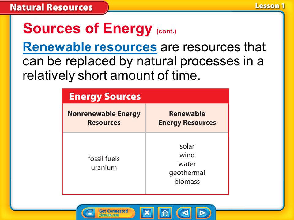 Lesson 1-1 Nonrenewable resourcesNonrenewable resources are resources that are used faster than they can be replaced by natural processes.