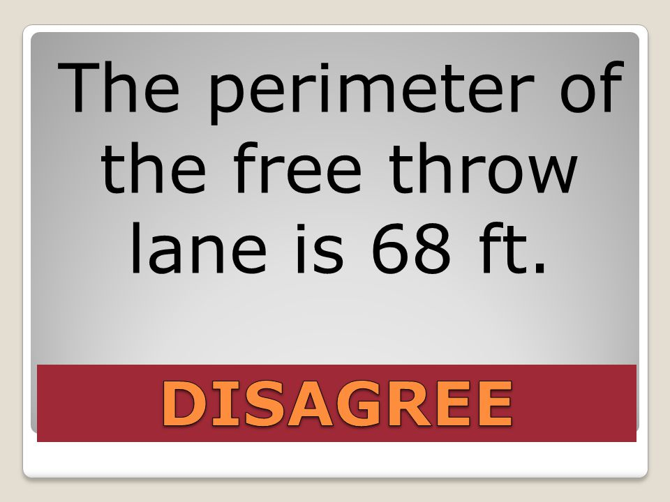 The perimeter of the free throw lane is 68 ft.