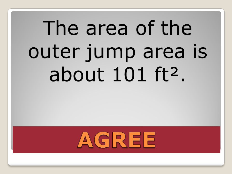 The area of the outer jump area is about 101 ft².