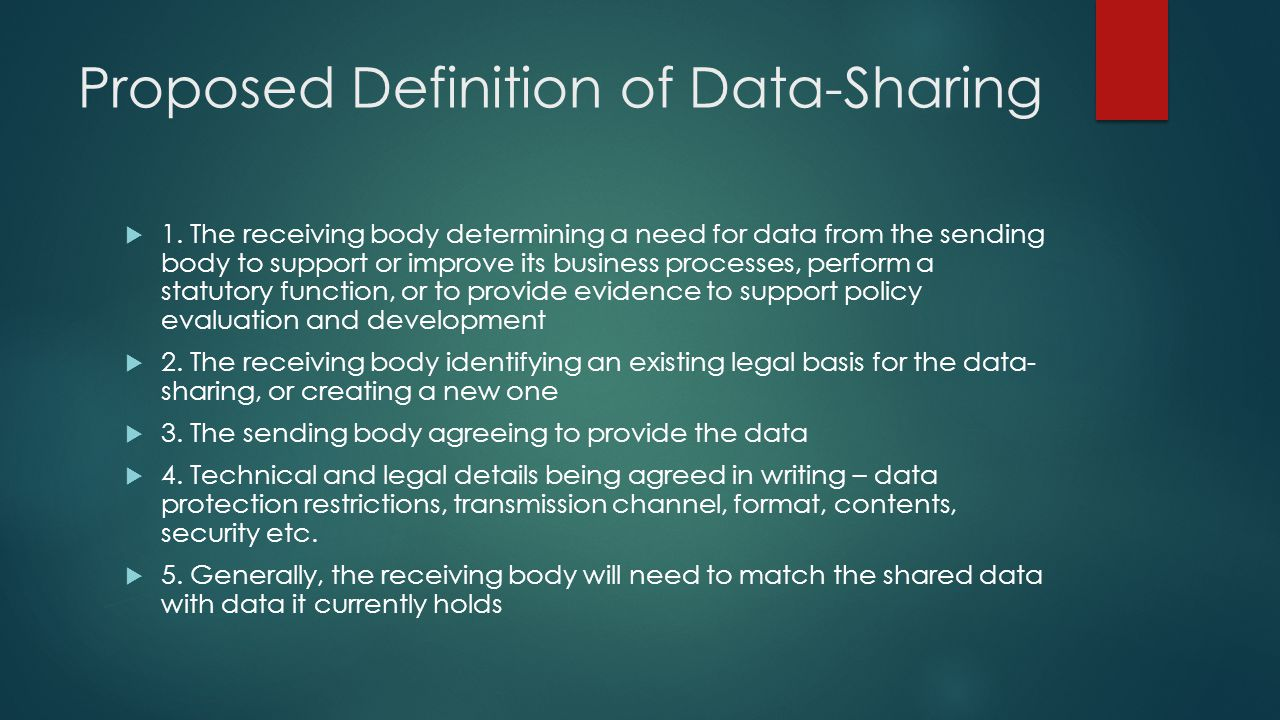 Proposed Definition of Data-Sharing  1.