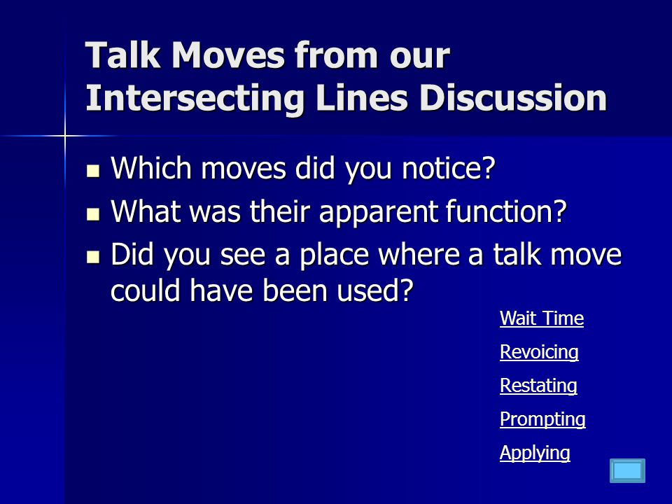 Talk Moves from our Intersecting Lines Discussion Which moves did you notice.