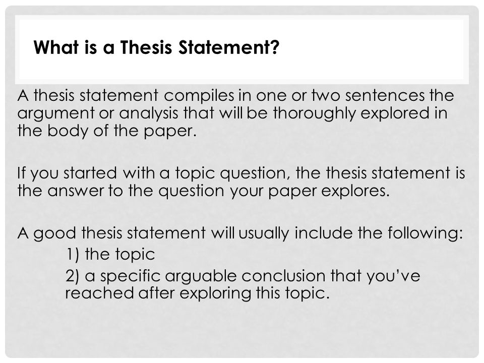 Good thesis statement for english paper redemption introduction essay