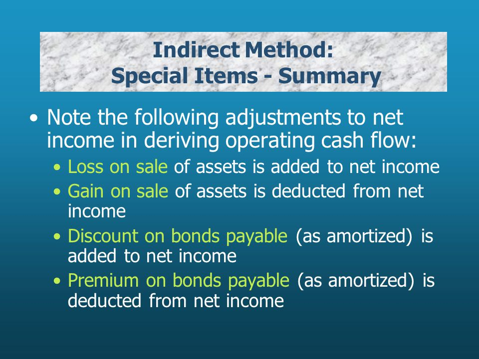 Indirect Method: Special Items - Summary Note the following adjustments to net income in deriving operating cash flow: Loss on sale of assets is added to net income Gain on sale of assets is deducted from net income Discount on bonds payable (as amortized) is added to net income Premium on bonds payable (as amortized) is deducted from net income