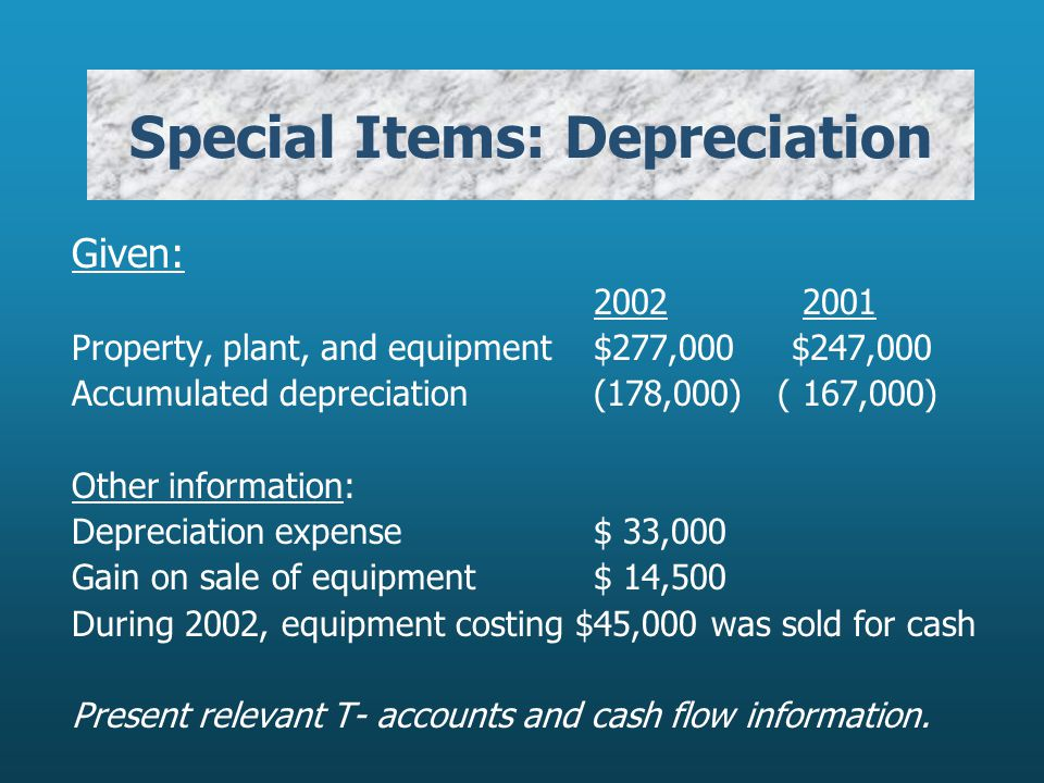 Special Items: Depreciation Given: Property, plant, and equipment$277,000 $247,000 Accumulated depreciation(178,000) ( 167,000) Other information: Depreciation expense$ 33,000 Gain on sale of equipment$ 14,500 During 2002, equipment costing $45,000 was sold for cash Present relevant T- accounts and cash flow information.