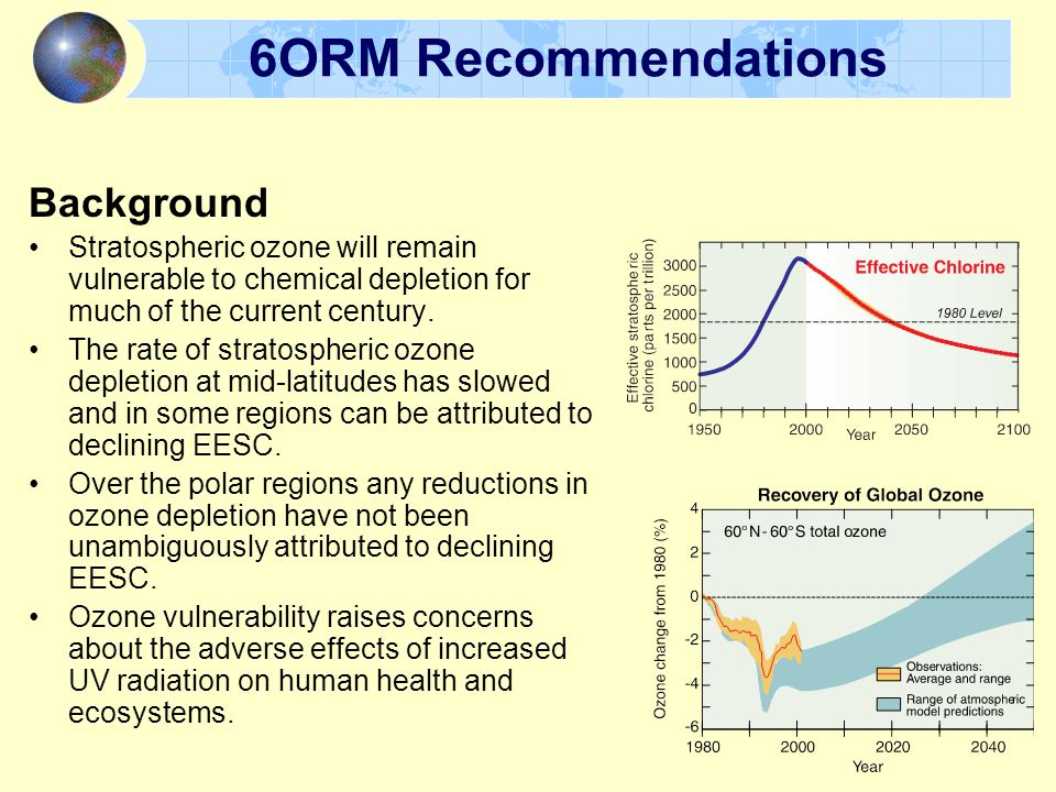 6ORM Recommendations Background Stratospheric ozone will remain vulnerable to chemical depletion for much of the current century.