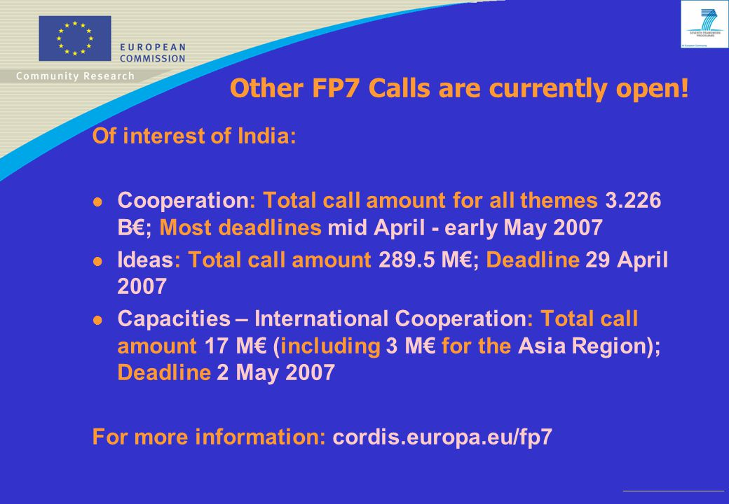 Other FP7 Calls are currently open.